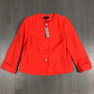 NWT Talbots Jackie Fit Orange Linen Blazer Jacket